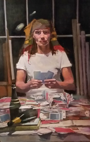 Susie Amato, Playing Cards, 2015, oil on linen, 44 x 36 inches