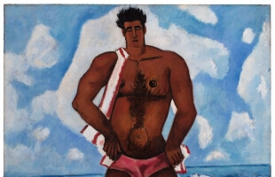 Marsden Hartley (American, 1877–1943). Canuck Yankee Lumberjack at Old Orchard Beach, Maine (detail), 1940–41. Oil on Masonite-type hardboard. Hirshhorn Museum and Sculpture Garden, Smithsonian Institution, Gift of Joseph H. Hirshhorn, 1966. Photo by Cathy Carver.